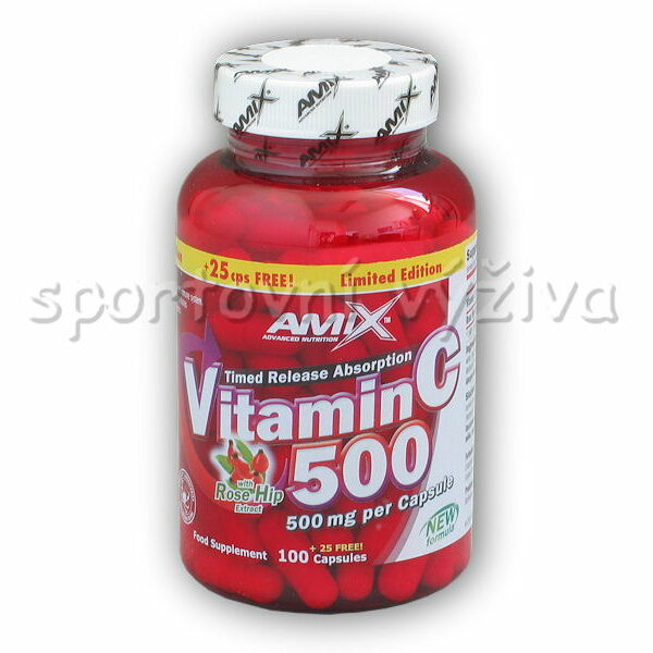Vitamin C 500mg + Rose Hips 125 kapslí Vitamin C 500mg + Rose Hips 125 kapslí